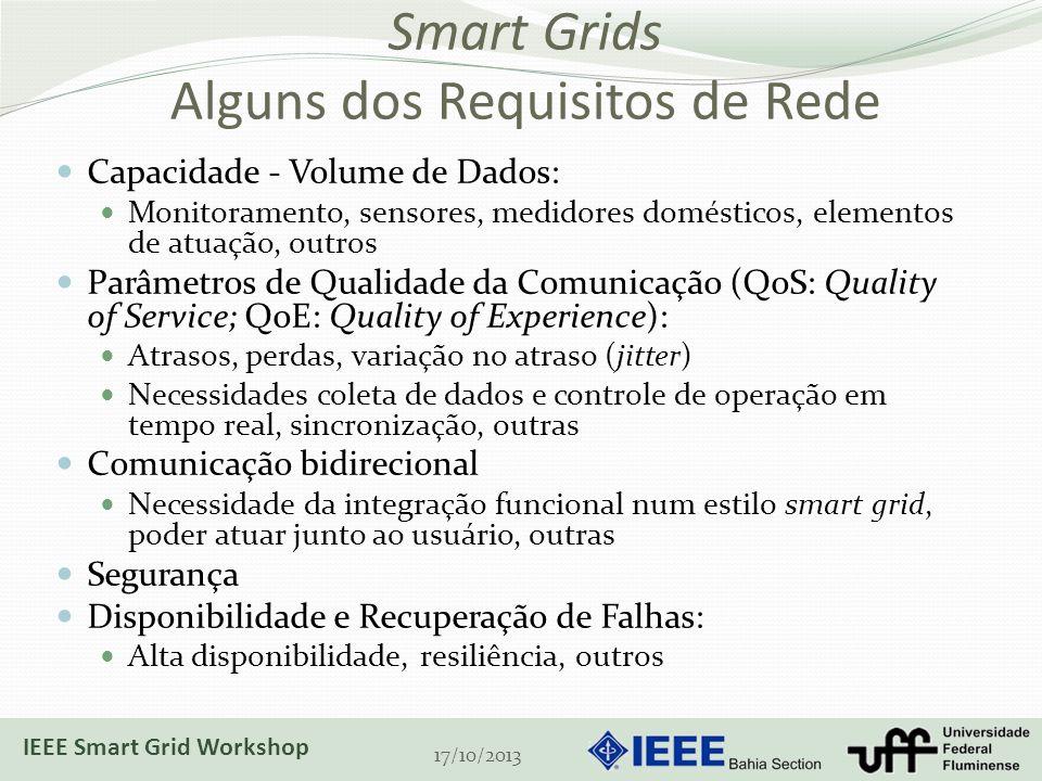 Smart Grids Alguns dos Requisitos de Rede Capacidade - Volume de Dados: Monitoramento, sensores, medidores domésticos, elementos de atuação, outros Parâmetros de Qualidade da Comunicação (QoS: Quality of Service; QoE: Quality of Experience): Atrasos, perdas, variação no atraso (jitter) Necessidades coleta de dados e controle de operação em tempo real, sincronização, outras Comunicação bidirecional Necessidade da integração funcional num estilo smart grid, poder atuar junto ao usuário, outras Segurança Disponibilidade e Recuperação de Falhas: Alta disponibilidade, resiliência, outros 17/10/2013 IEEE Smart Grid Workshop