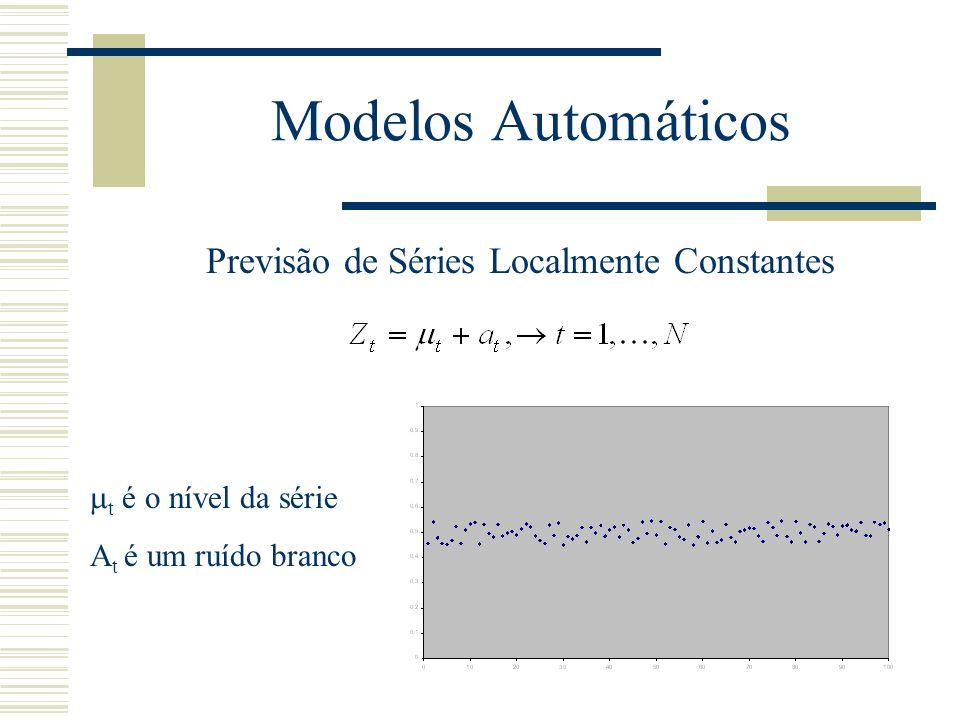 Modelos Automáticos Previsão de Séries Localmente Constantes t é o nível da série A t é um ruído branco
