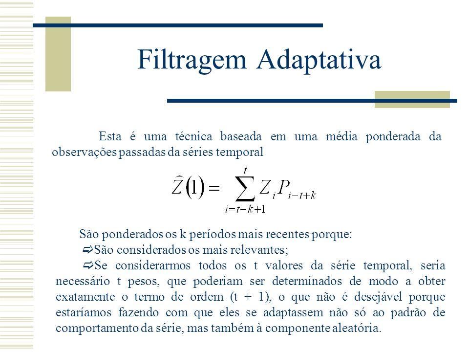 Filtragem Adaptativa Esta é uma técnica baseada em uma média ponderada da observações passadas da séries temporal São ponderados os k períodos mais re