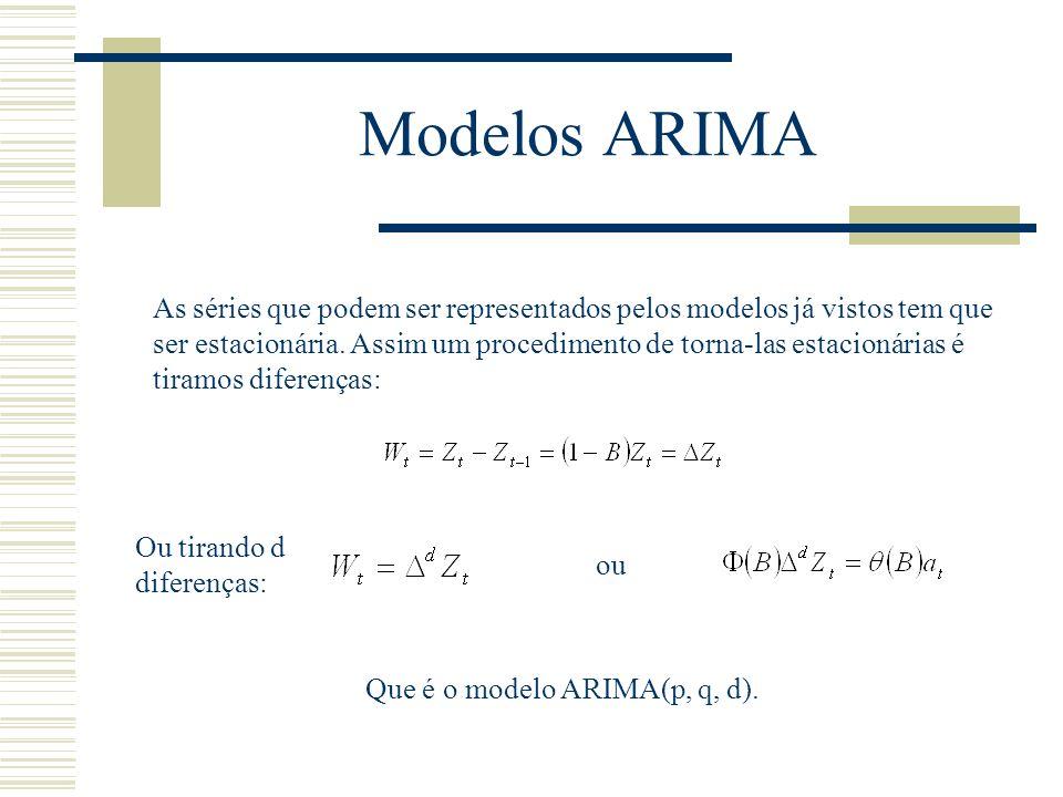 Modelos ARIMA As séries que podem ser representados pelos modelos já vistos tem que ser estacionária. Assim um procedimento de torna-las estacionárias