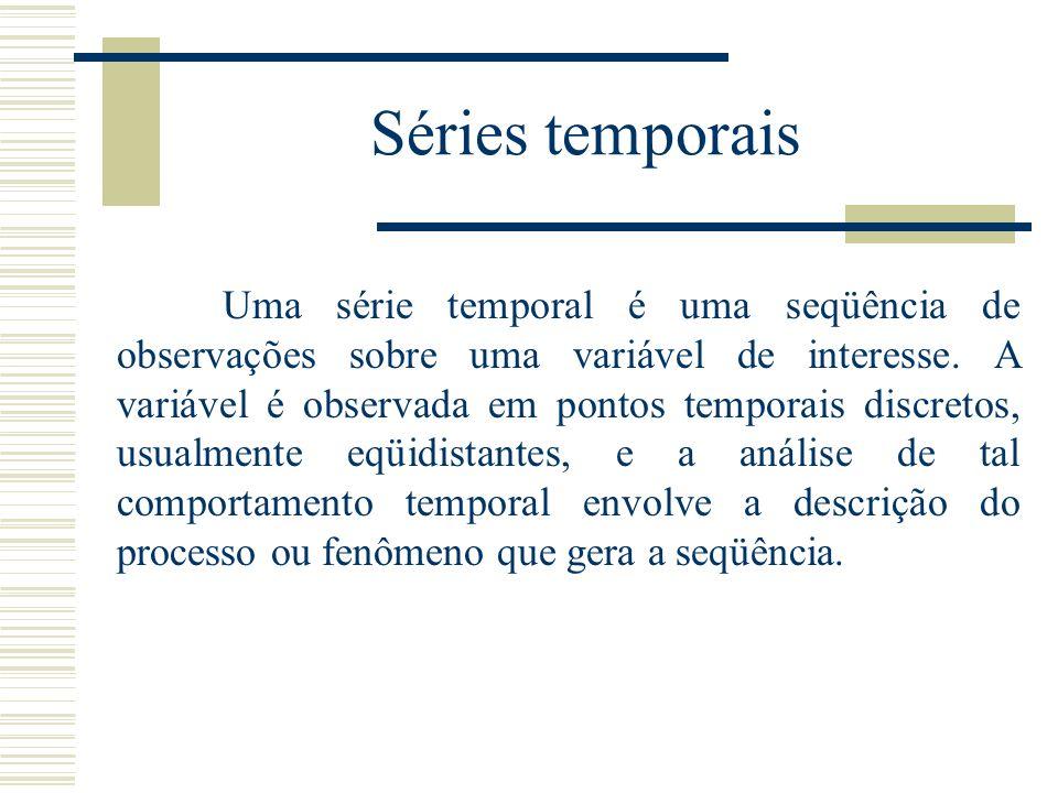 Séries temporais Uma série temporal é uma seqüência de observações sobre uma variável de interesse. A variável é observada em pontos temporais discret