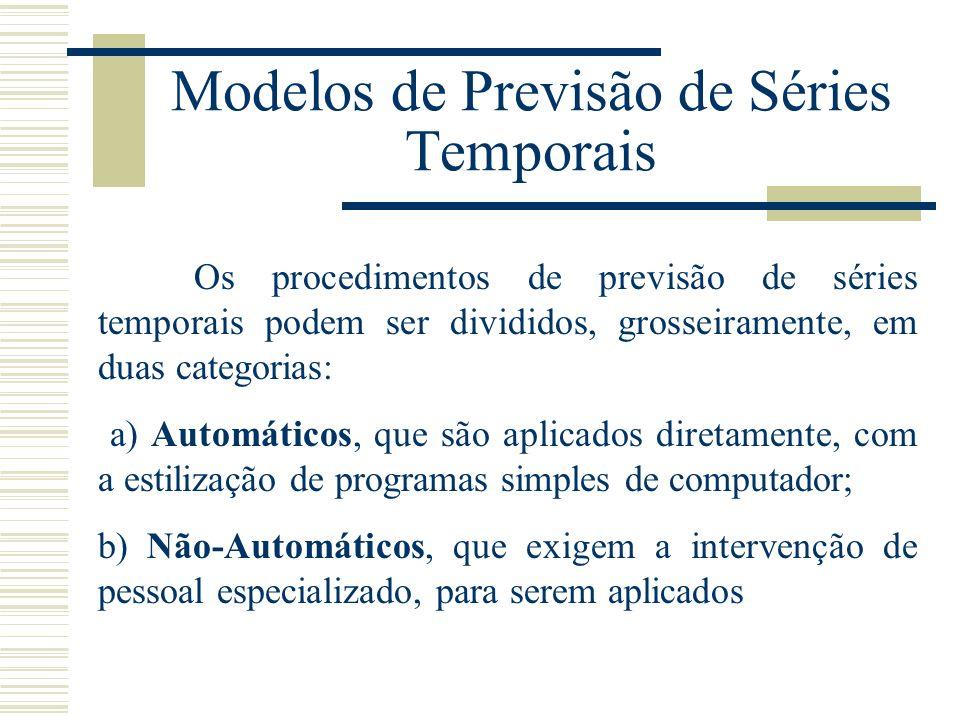 Modelos de Previsão de Séries Temporais Os procedimentos de previsão de séries temporais podem ser divididos, grosseiramente, em duas categorias: a) A