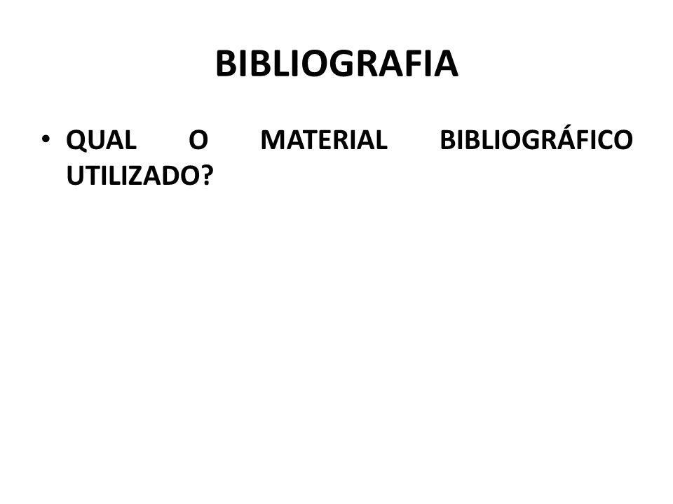 BIBLIOGRAFIA QUAL O MATERIAL BIBLIOGRÁFICO UTILIZADO?