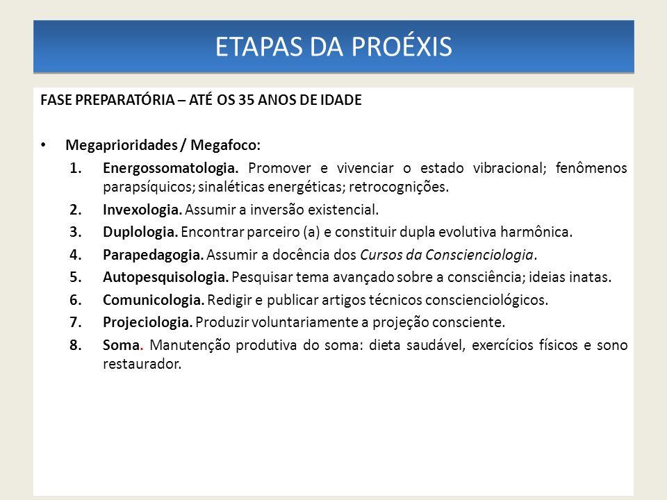 ETAPAS DA PROÉXIS FASE PREPARATÓRIA – ATÉ OS 35 ANOS DE IDADE Megaprioridades / Megafoco: 1.Energossomatologia. Promover e vivenciar o estado vibracio