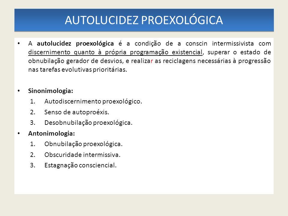 AUTOLUCIDEZ PROEXOLÓGICA A autolucidez proexológica é a condição de a conscin intermissivista com discernimento quanto à própria programação existenci