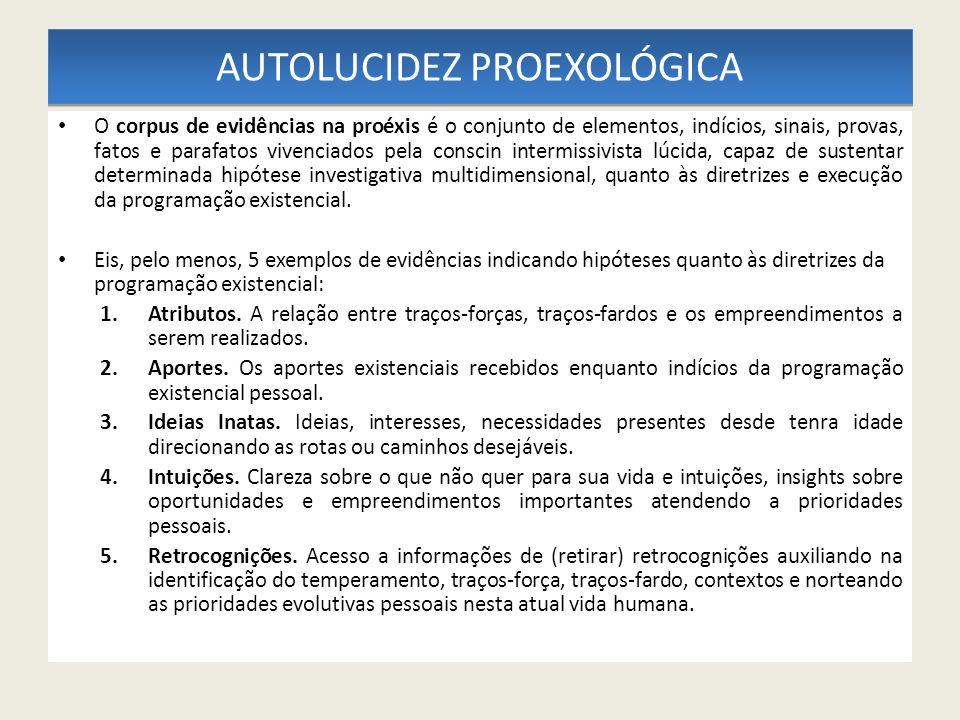 AUTOLUCIDEZ PROEXOLÓGICA O corpus de evidências na proéxis é o conjunto de elementos, indícios, sinais, provas, fatos e parafatos vivenciados pela con