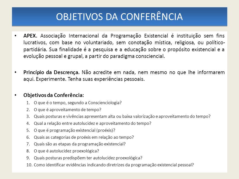 OBJETIVOS DA CONFERÊNCIA APEX. Associação Internacional da Programação Existencial é instituição sem fins lucrativos, com base no voluntariado, sem co