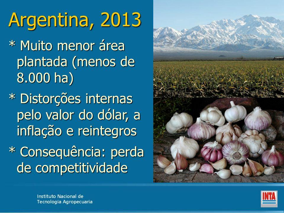 Argentina, 2013 * Muito menor área plantada (menos de 8.000 ha) * Distorções internas pelo valor do dólar, a inflação e reintegros * Consequência: per