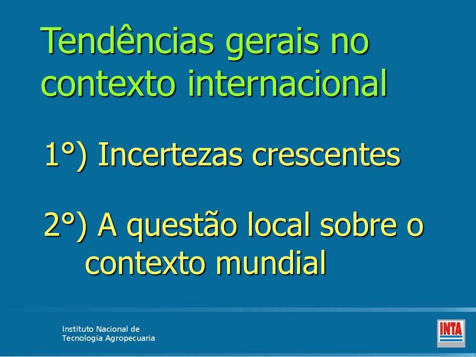 Tendências gerais no contexto internacional 1°) Incertezas crescentes 2°) A questão local sobre o contexto mundial