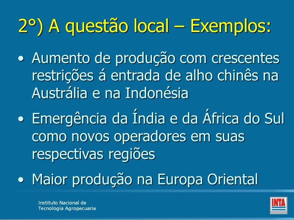 2°) A questão local – Exemplos: Aumento de produção com crescentes restrições á entrada de alho chinês na Austrália e na IndonésiaAumento de produção