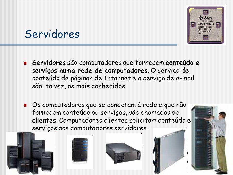 Servidores Servidores são computadores que fornecem conteúdo e serviços numa rede de computadores.