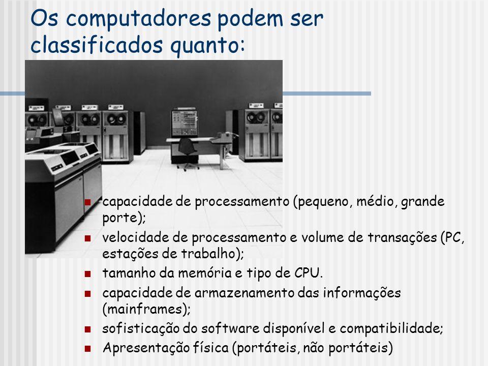Os computadores podem ser classificados quanto: capacidade de processamento (pequeno, médio, grande porte); velocidade de processamento e volume de transações (PC, estações de trabalho); tamanho da memória e tipo de CPU.