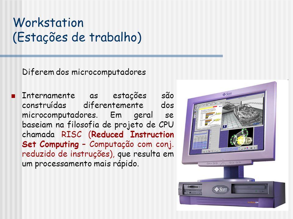 Diferem dos microcomputadores Internamente as estações são construídas diferentemente dos microcomputadores. Em geral se baseiam na filosofia de proje