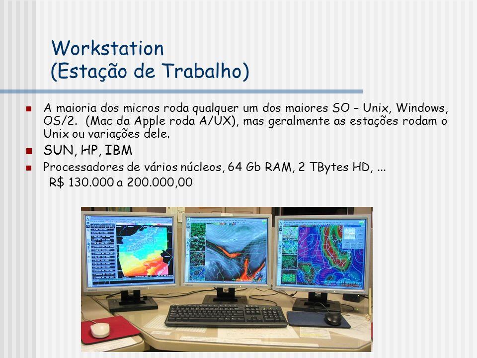 Workstation (Estação de Trabalho) A maioria dos micros roda qualquer um dos maiores SO – Unix, Windows, OS/2. (Mac da Apple roda A/UX), mas geralmente