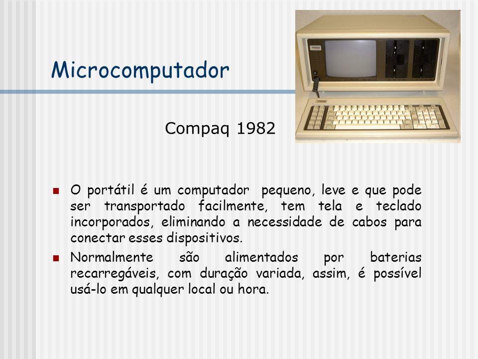 O portátil é um computador pequeno, leve e que pode ser transportado facilmente, tem tela e teclado incorporados, eliminando a necessidade de cabos para conectar esses dispositivos.