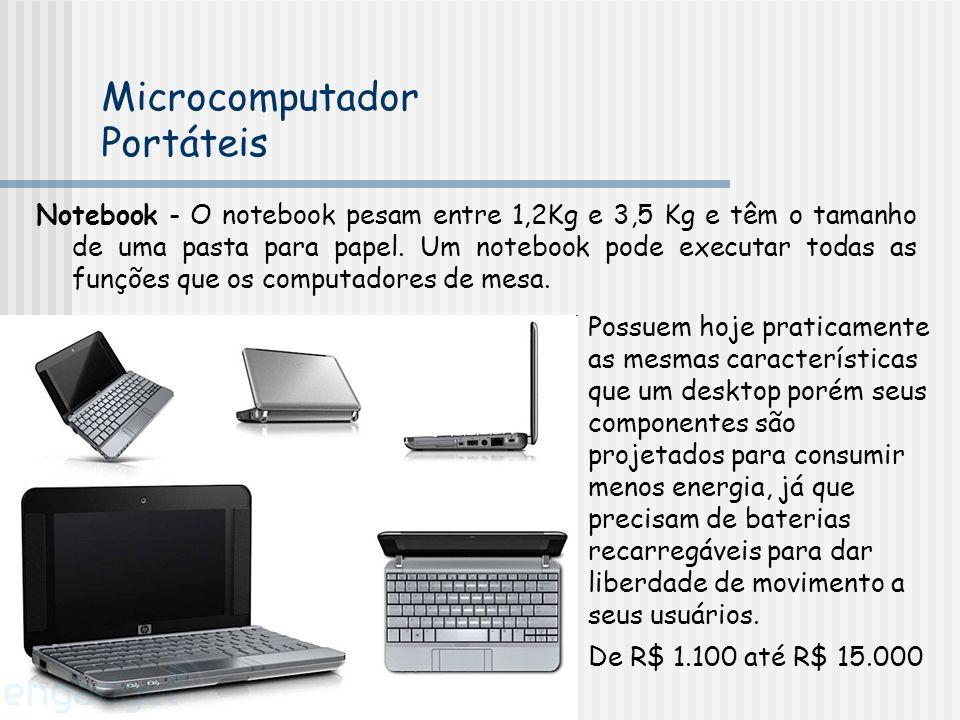 Notebook - O notebook pesam entre 1,2Kg e 3,5 Kg e têm o tamanho de uma pasta para papel. Um notebook pode executar todas as funções que os computador