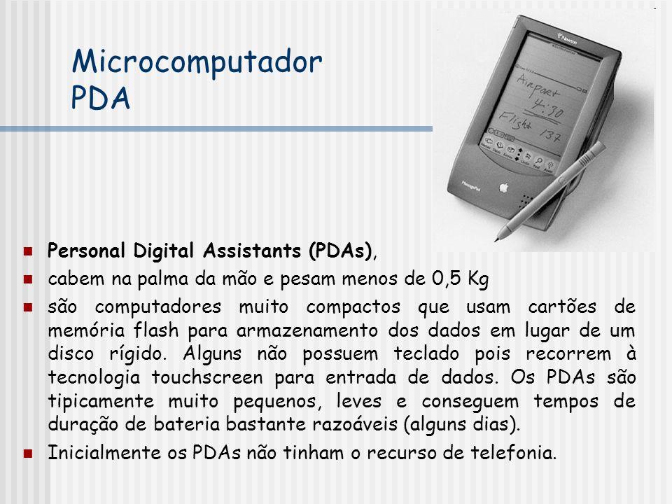 Personal Digital Assistants (PDAs), cabem na palma da mão e pesam menos de 0,5 Kg são computadores muito compactos que usam cartões de memória flash para armazenamento dos dados em lugar de um disco rígido.