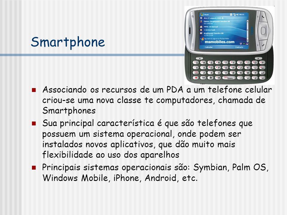 Smartphone Associando os recursos de um PDA a um telefone celular criou-se uma nova classe te computadores, chamada de Smartphones Sua principal característica é que são telefones que possuem um sistema operacional, onde podem ser instalados novos aplicativos, que dão muito mais flexibilidade ao uso dos aparelhos Principais sistemas operacionais são: Symbian, Palm OS, Windows Mobile, iPhone, Android, etc.