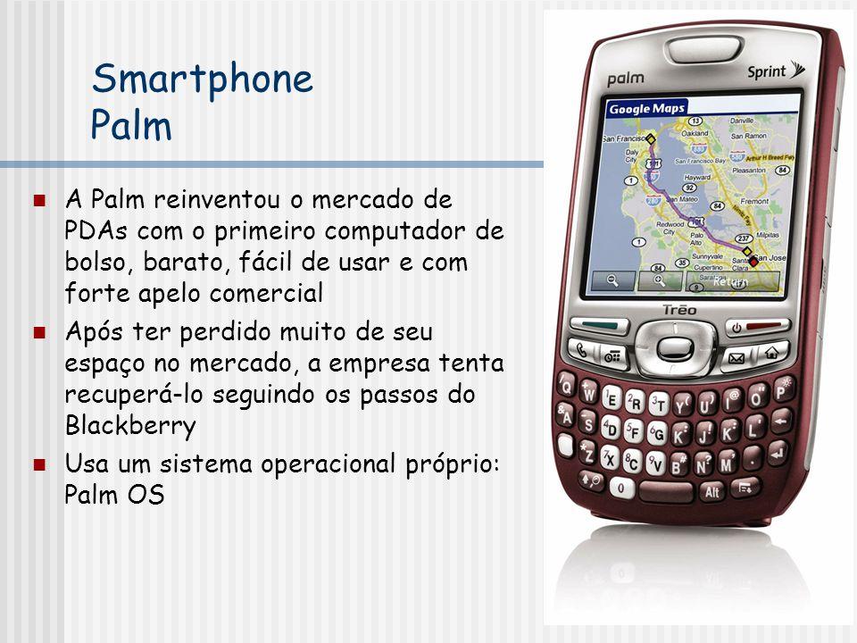 Smartphone Palm A Palm reinventou o mercado de PDAs com o primeiro computador de bolso, barato, fácil de usar e com forte apelo comercial Após ter perdido muito de seu espaço no mercado, a empresa tenta recuperá-lo seguindo os passos do Blackberry Usa um sistema operacional próprio: Palm OS
