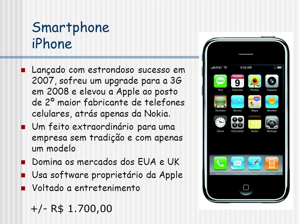 Smartphone iPhone Lançado com estrondoso sucesso em 2007, sofreu um upgrade para a 3G em 2008 e elevou a Apple ao posto de 2º maior fabricante de telefones celulares, atrás apenas da Nokia.