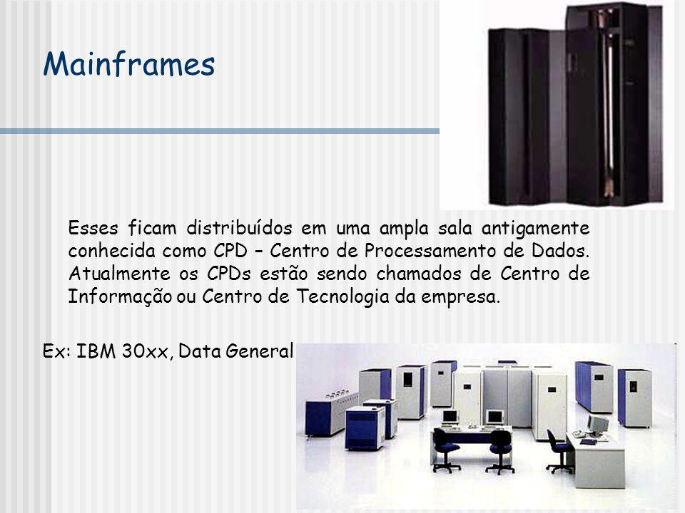Esses ficam distribuídos em uma ampla sala antigamente conhecida como CPD – Centro de Processamento de Dados. Atualmente os CPDs estão sendo chamados