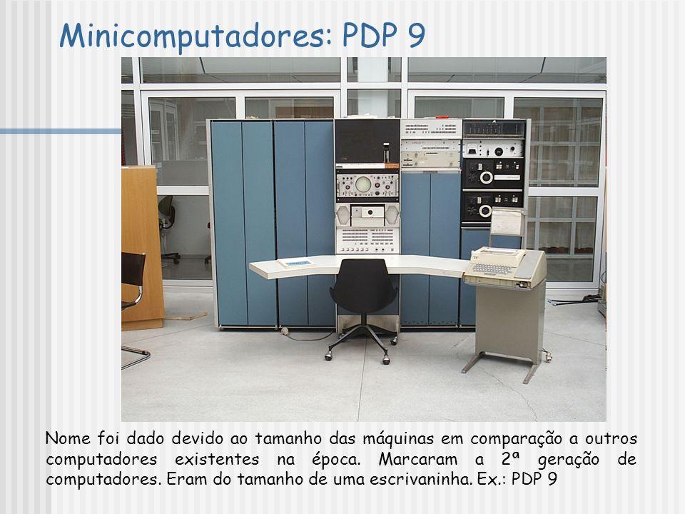 Minicomputadores: PDP 9 Nome foi dado devido ao tamanho das máquinas em comparação a outros computadores existentes na época. Marcaram a 2ª geração de