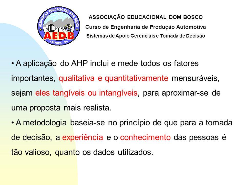 ASSOCIAÇÃO EDUCACIONAL DOM BOSCO Curso de Engenharia de Produção Automotiva Sistemas de Apoio Gerenciais e Tomada de Decisão A aplicação do AHP inclui