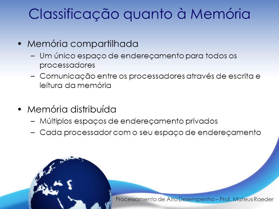 Processamento de Alto Desempenho – Prof. Mateus Raeder Classificação quanto à Memória Memória compartilhada –Um único espaço de endereçamento para tod