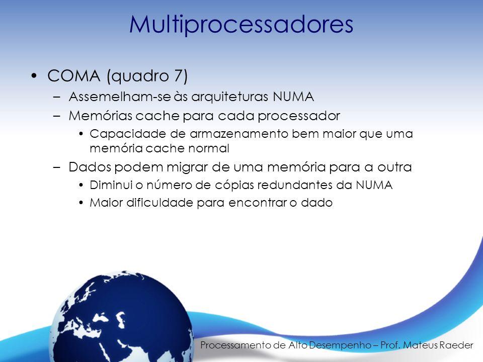 Processamento de Alto Desempenho – Prof. Mateus Raeder Multiprocessadores COMA (quadro 7) –Assemelham-se às arquiteturas NUMA –Memórias cache para cad