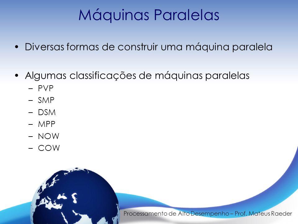 Processamento de Alto Desempenho – Prof. Mateus Raeder Máquinas Paralelas Diversas formas de construir uma máquina paralela Algumas classificações de