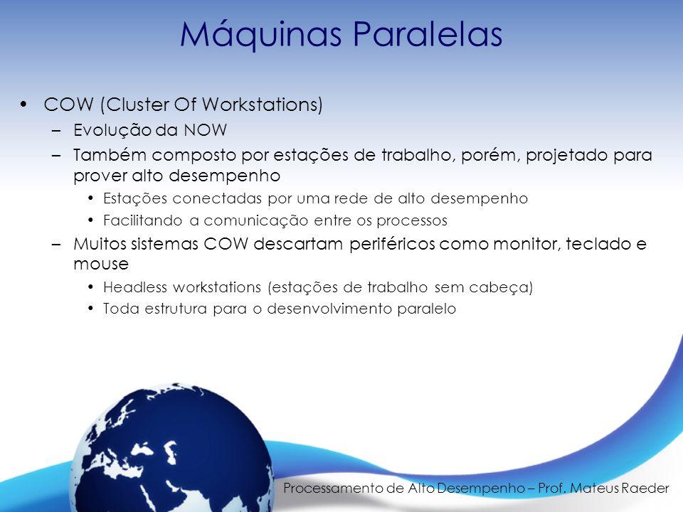 Processamento de Alto Desempenho – Prof. Mateus Raeder Máquinas Paralelas COW (Cluster Of Workstations) –Evolução da NOW –Também composto por estações
