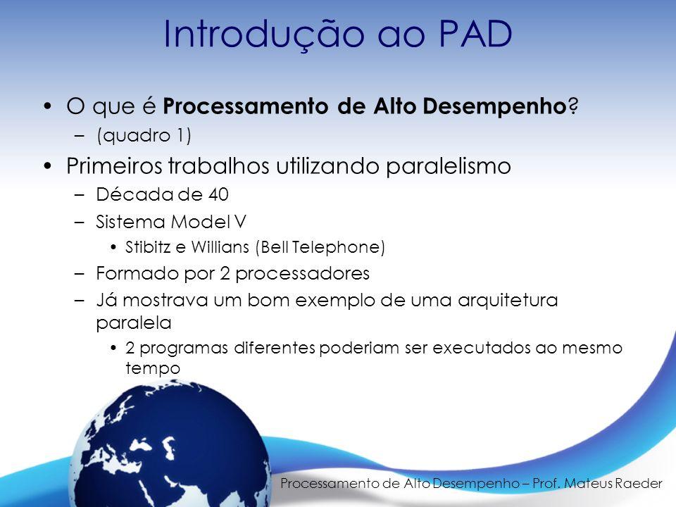 Processamento de Alto Desempenho – Prof. Mateus Raeder Introdução ao PAD O que é Processamento de Alto Desempenho ? –(quadro 1) Primeiros trabalhos ut