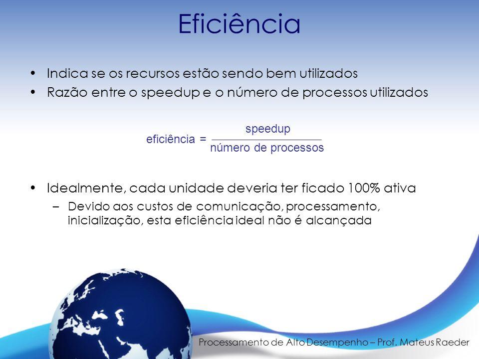 Processamento de Alto Desempenho – Prof. Mateus Raeder Eficiência Indica se os recursos estão sendo bem utilizados Razão entre o speedup e o número de