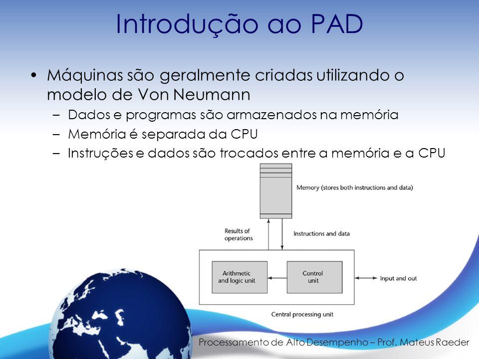 Processamento de Alto Desempenho – Prof. Mateus Raeder Introdução ao PAD Máquinas são geralmente criadas utilizando o modelo de Von Neumann –Dados e p