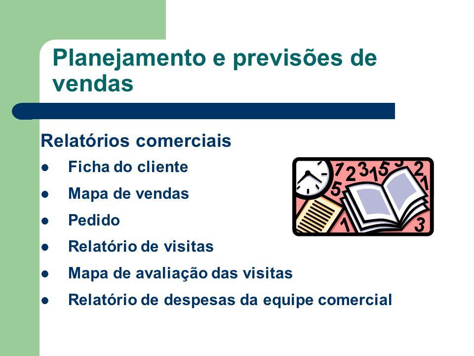 Relatórios comerciais Ficha do cliente Mapa de vendas Pedido Relatório de visitas Mapa de avaliação das visitas Relatório de despesas da equipe comerc