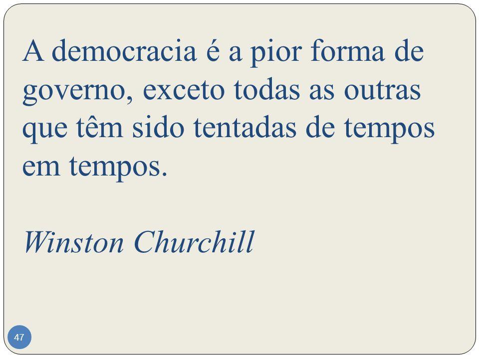 A democracia é a pior forma de governo, exceto todas as outras que têm sido tentadas de tempos em tempos. Winston Churchill 47
