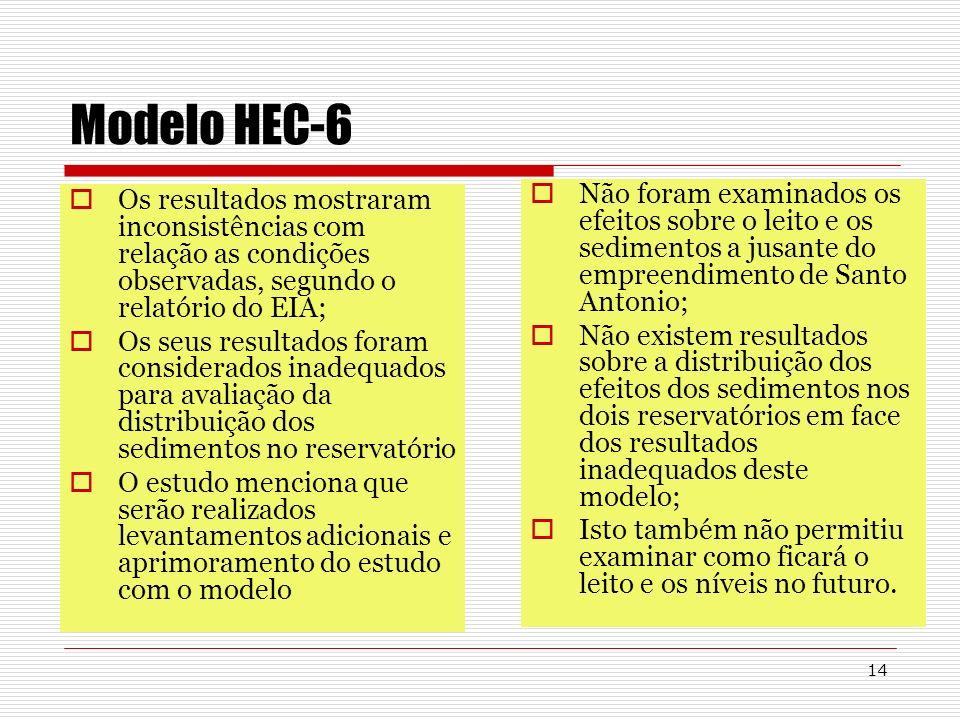14 Modelo HEC-6 Os resultados mostraram inconsistências com relação as condições observadas, segundo o relatório do EIA; Os seus resultados foram cons