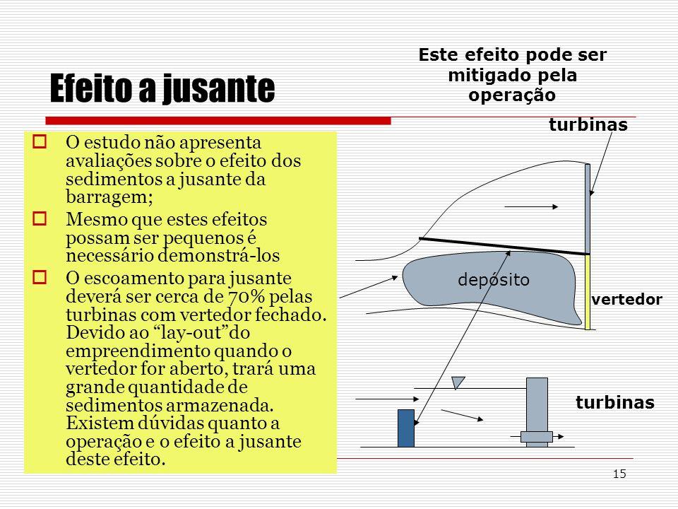 15 Efeito a jusante O estudo não apresenta avaliações sobre o efeito dos sedimentos a jusante da barragem; Mesmo que estes efeitos possam ser pequenos