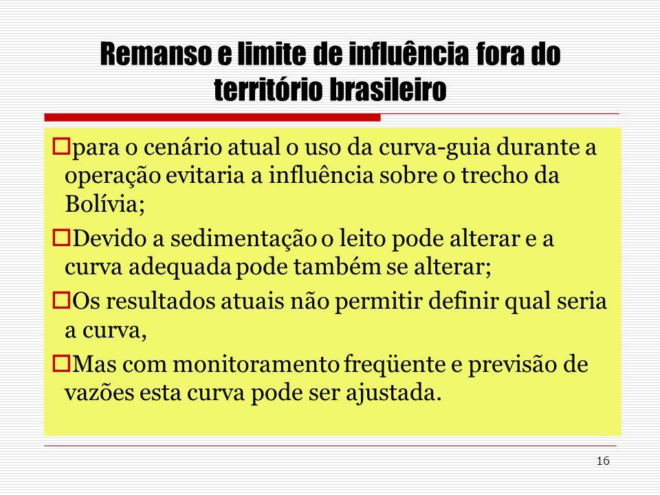 16 Remanso e limite de influência fora do território brasileiro para o cenário atual o uso da curva-guia durante a operação evitaria a influência sobr