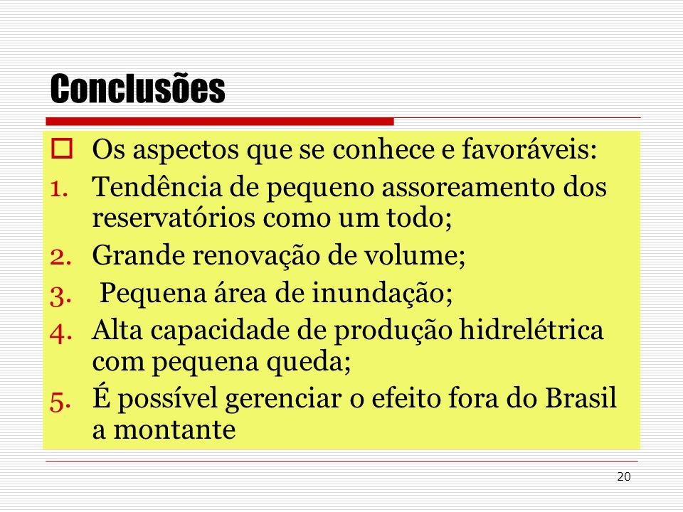 20 Conclusões Os aspectos que se conhece e favoráveis: 1.Tendência de pequeno assoreamento dos reservatórios como um todo; 2.Grande renovação de volum