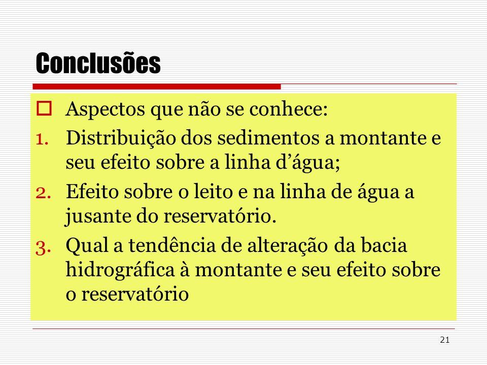 21 Conclusões Aspectos que não se conhece: 1.Distribuição dos sedimentos a montante e seu efeito sobre a linha dágua; 2.Efeito sobre o leito e na linh