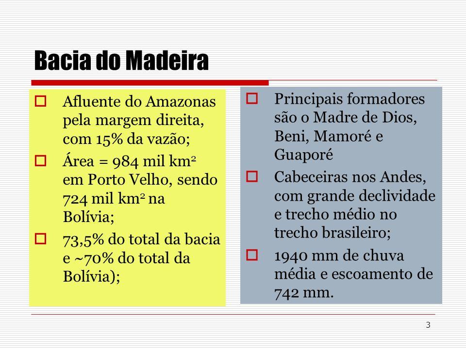 3 Bacia do Madeira Afluente do Amazonas pela margem direita, com 15% da vazão; Área = 984 mil km 2 em Porto Velho, sendo 724 mil km 2 na Bolívia; 73,5