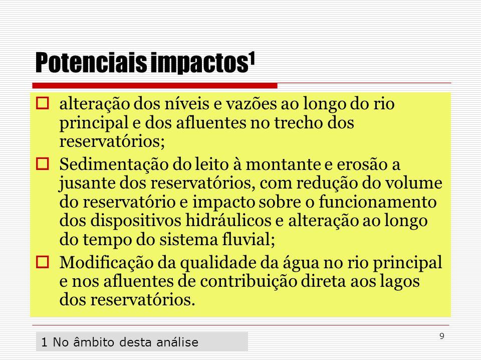9 Potenciais impactos 1 alteração dos níveis e vazões ao longo do rio principal e dos afluentes no trecho dos reservatórios; Sedimentação do leito à m