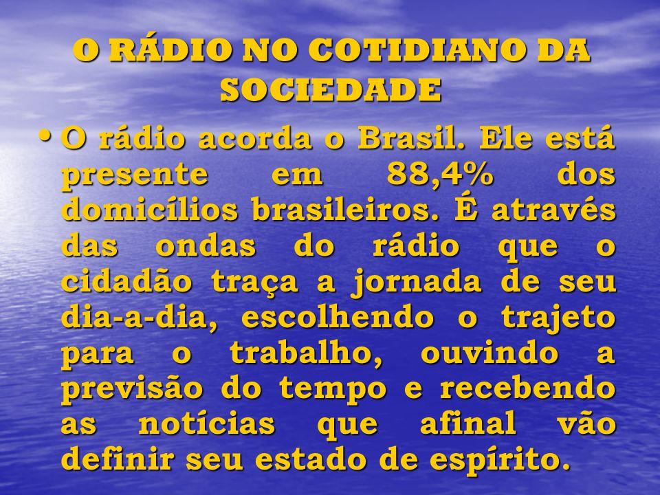 O RÁDIO NO COTIDIANO DA SOCIEDADE O rádio acorda o Brasil. Ele está presente em 88,4% dos domicílios brasileiros. É através das ondas do rádio que o c