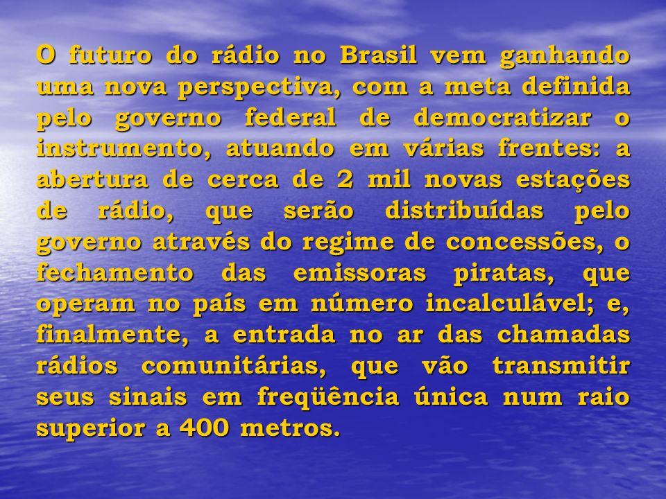 O futuro do rádio no Brasil vem ganhando uma nova perspectiva, com a meta definida pelo governo federal de democratizar o instrumento, atuando em vári