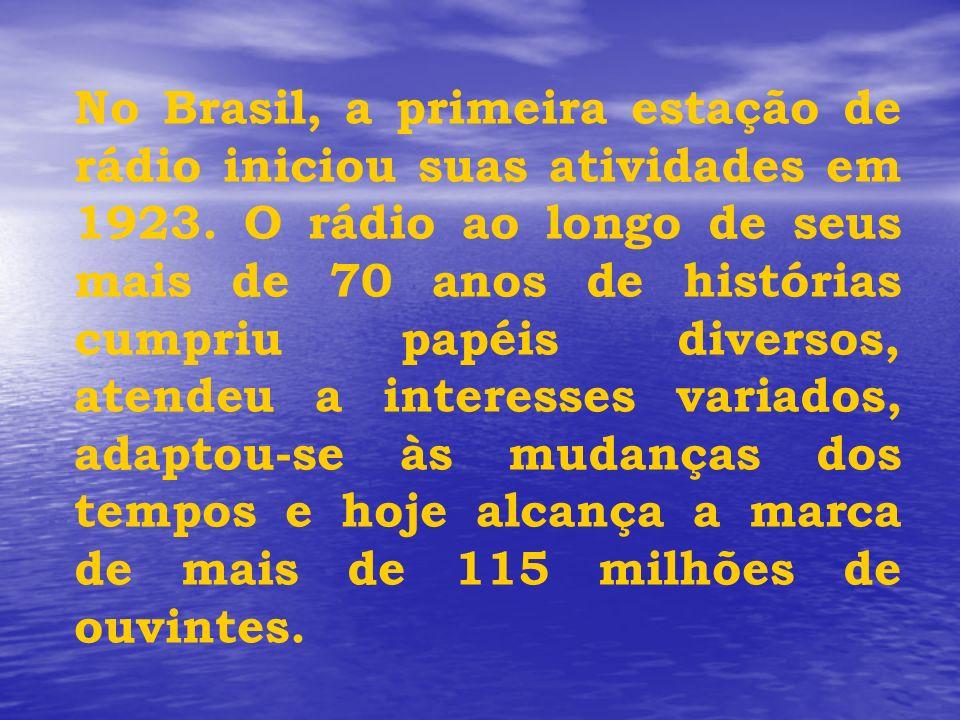 No Brasil, a primeira estação de rádio iniciou suas atividades em 1923. O rádio ao longo de seus mais de 70 anos de histórias cumpriu papéis diversos,