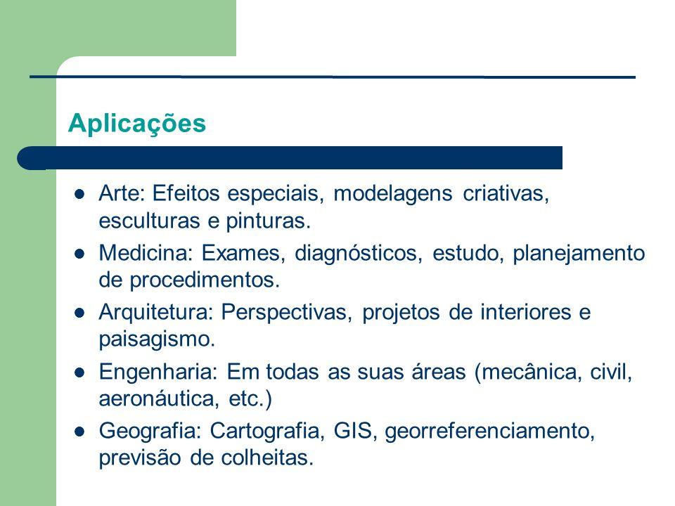 Arte: Efeitos especiais, modelagens criativas, esculturas e pinturas. Medicina: Exames, diagnósticos, estudo, planejamento de procedimentos. Arquitetu