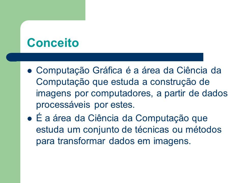 Conceito Computação Gráfica é a área da Ciência da Computação que estuda a construção de imagens por computadores, a partir de dados processáveis por