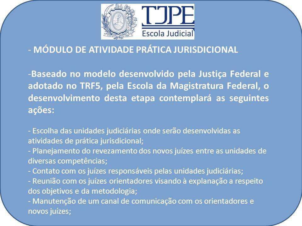 - MÓDULO DE ATIVIDADE PRÁTICA JURISDICIONAL -Baseado no modelo desenvolvido pela Justiça Federal e adotado no TRF5, pela Escola da Magistratura Federa