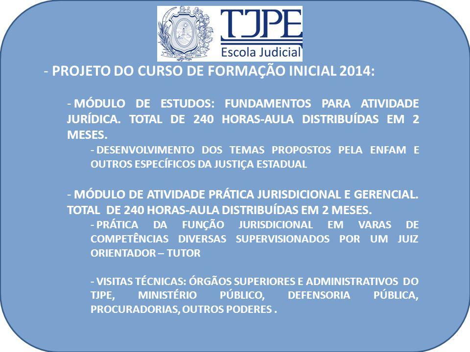 - PROJETO DO CURSO DE FORMAÇÃO INICIAL 2014: - MÓDULO DE ESTUDOS: FUNDAMENTOS PARA ATIVIDADE JURÍDICA. TOTAL DE 240 HORAS-AULA DISTRIBUÍDAS EM 2 MESES